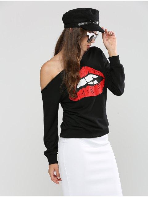 shops Long Sleeve Skew Neck Lip Printed Sweatshirt - BLACK S Mobile