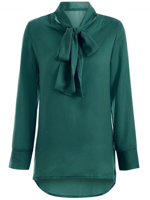 shop Long Sleeve Pussy Bow Blouse - GREEN XL Mobile