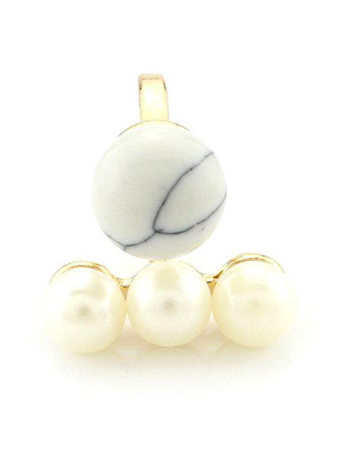 latest Faux Pearl Ball Ring - WHITE  Mobile