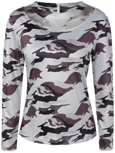 womens Cut Out Camouflage T-Shirt - WHITE S Mobile