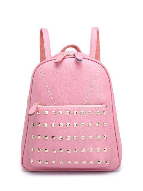 womens PU Leather Stitching Rivet Backpack - PINK  Mobile