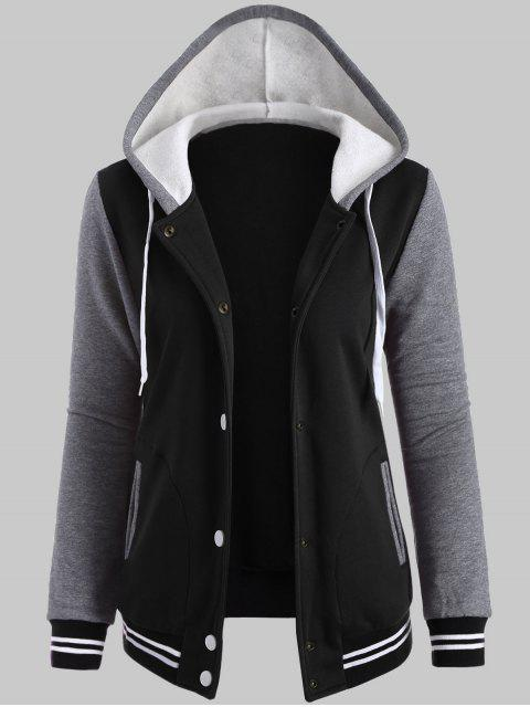 hot Plus Size Hooded Varsity Baseball Fleece Sweatshirt Jacket - BLACK 3XL Mobile