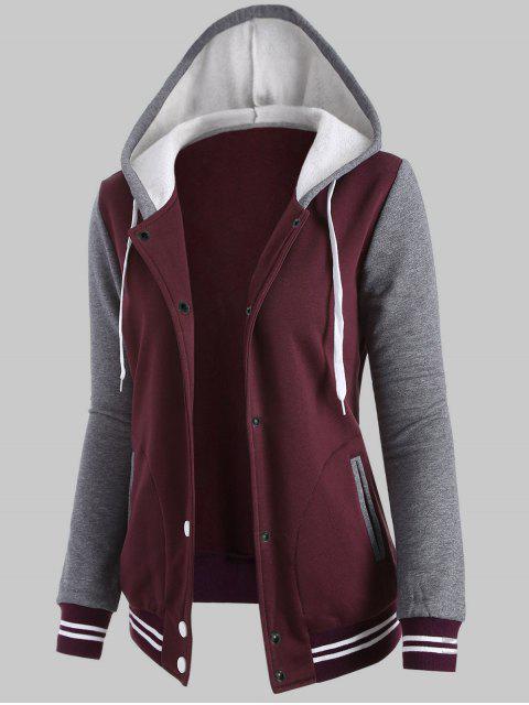 shop Plus Size Hooded Varsity Baseball Fleece Sweatshirt Jacket - WINE RED 5XL Mobile