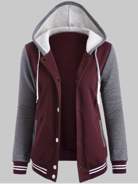 fashion Plus Size Hooded Varsity Baseball Fleece Sweatshirt Jacket - WINE RED XL Mobile