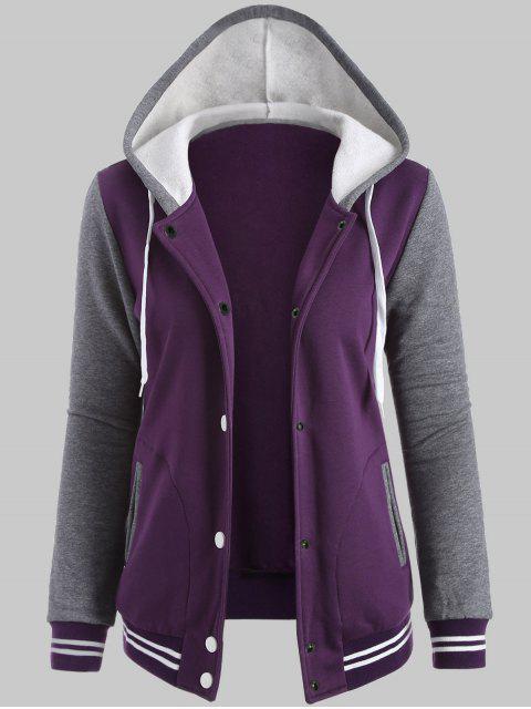 chic Plus Size Hooded Varsity Baseball Fleece Sweatshirt Jacket - PURPLE 5XL Mobile