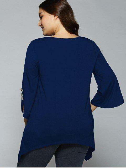 best Button Decorated Sleeves Asymmetrical Blouse - DEEP BLUE 3XL Mobile