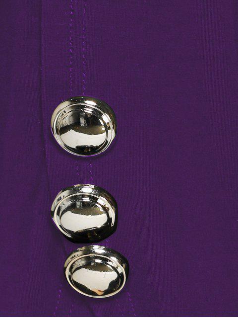 Blouse asymétrique avec embellissement de boutons aux manches - Violet Foncé XL Mobile
