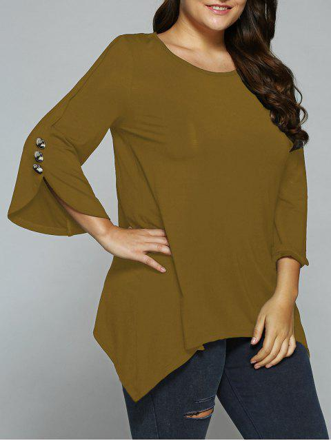 buy Button Decorated Sleeves Asymmetrical Blouse - SUGAR HONEY 2XL Mobile