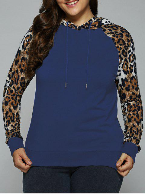 sudadera de diseno leopardo con mangas raglán y capucha - Azul Marino 3XL Mobile