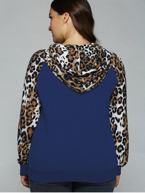 womens Plus Size Leopard Trim Raglan Sleeves Hoodie - NAVY BLUE 3XL Mobile