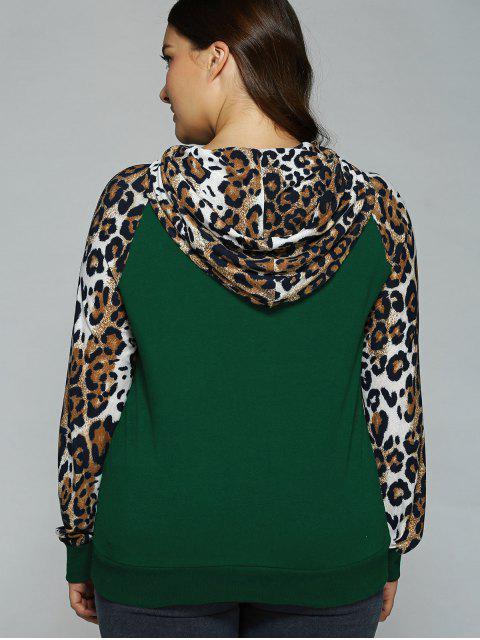 new Plus Size Leopard Trim Raglan Sleeves Hoodie - DEEP GREEN XL Mobile