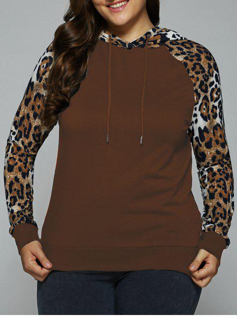fancy Plus Size Leopard Trim Raglan Sleeves Hoodie - COPER BROWN XL Mobile