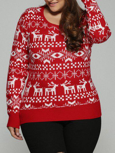 bdc9efdc4f433 Christmas Jacquard Pullover Plus Size Sweater - Red 5xl