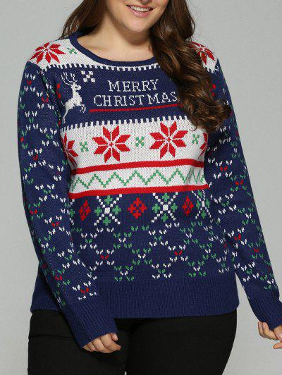 b4f58bd6a544c Christmas Snowflake Jacquard Plus Size Pullover Sweater - Deep Blue 5xl