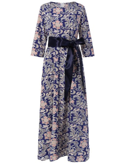 Image of 3 4 Sleeve Retro Print Belted Dress