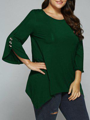 Button Decorated Sleeves Asymmetrical Blouse - Deep Green 2xl