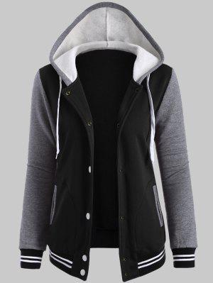 Plus Size Hooded Varsity Baseball Fleece Sweatshirt Jacket - Black 3xl