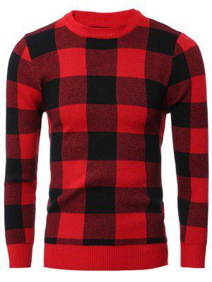 Slim Fit Rundhalsausschnitt Checkered-Pullover-Strickjacke