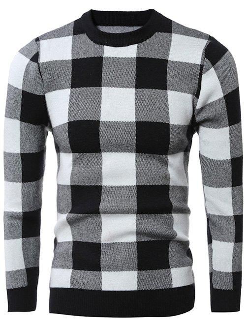 Slim-Fit Crew Neck Checkered Pullover Sweater, Black