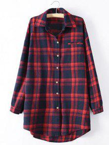 Long Sleeve Checked Long Shirt - Red 3xl