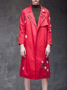Buy Floral Embroidered Side Slit Trench Coat - RED XL