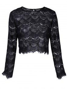 Buy Round Neck Long Sleeve Lace Top S BLACK