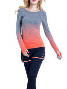 Ombre Yoga Gym T-Shirt - Orange L
