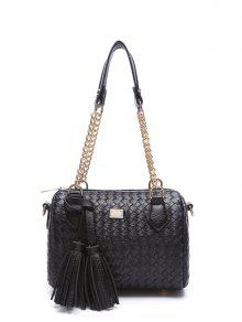Tassel Chains Weaving Shoulder Bag - Black