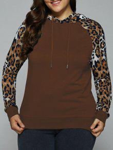 Plus Size Leopard Trim Raglan Sleeves Hoodie - Coper Brown Xl