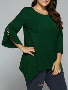 Button Decorated Sleeves Asymmetrical Blouse - Deep Green 2xl