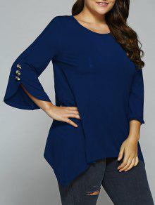 Button Decorated Sleeves Asymmetrical Blouse - Deep Blue 3xl