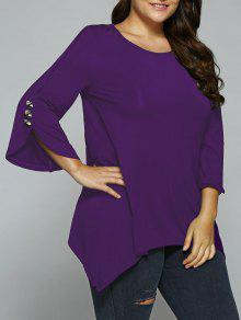 Button Decorated Sleeves Asymmetrical Blouse - Deep Purple Xl