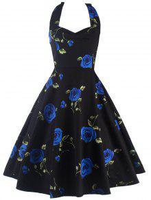 Halter Rose Imprimer Robe Vintage - Bleu 2xl