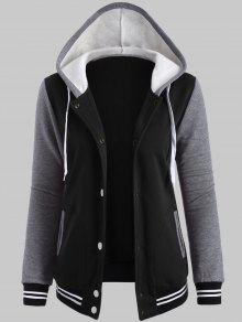 Plus Size Hooded Varsity Baseball Fleece Sweatshirt Jacket - Black 3xl