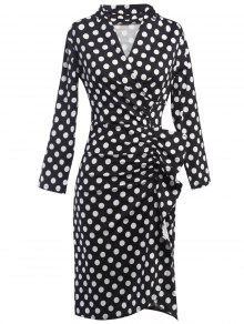البولكا نقطة روتشد فستان سوربليس - أسود M