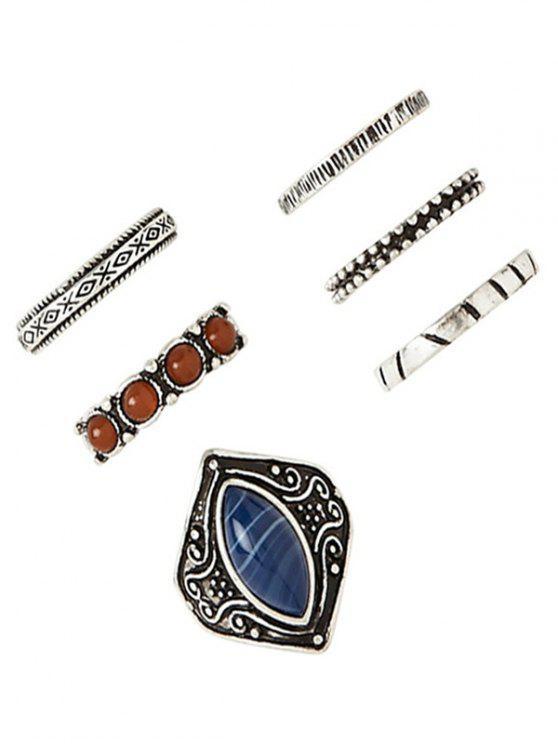 chic Carved Faux Gem Ring Set - DEEP BLUE