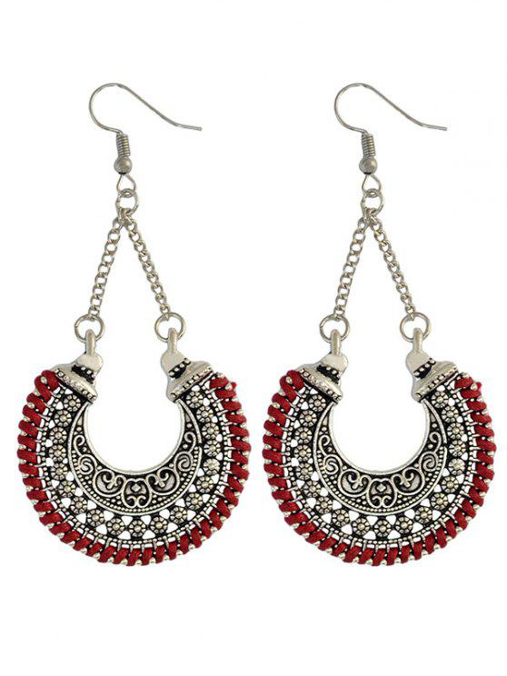 shop Crescent Carved Earrings - RED