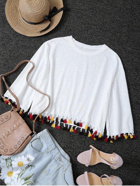 fancy Fringe Jewel Neck T-Shirt - WHITE L