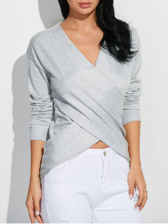 shops Front Cross Sweater - GRAY ONE SIZE