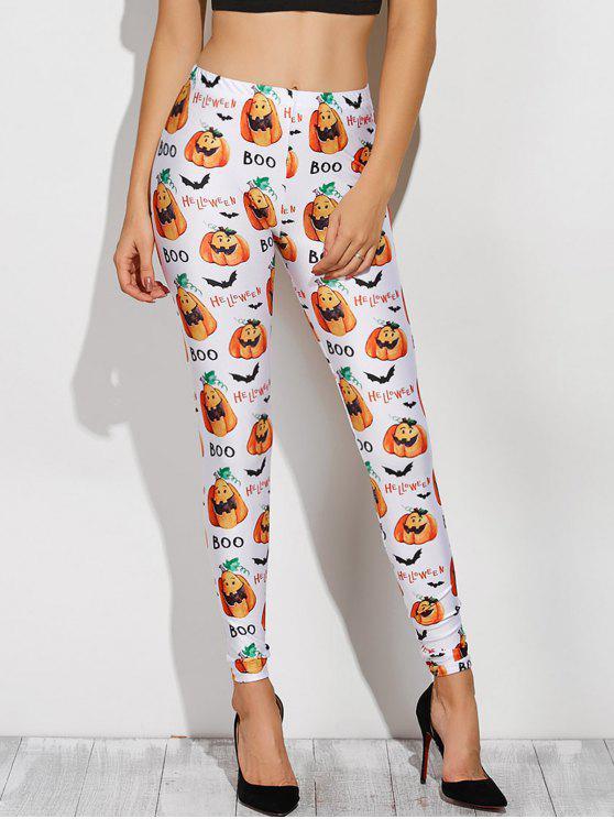 Gedruckte Leggings mit Halloween Kostüm - Weiß M