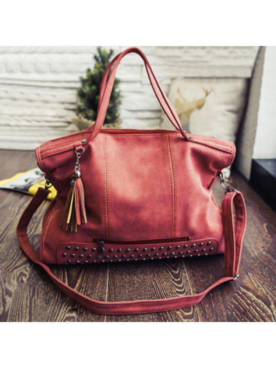 حقيبة يد من الجلد الاصطناعي مزينة بشرابتين - البطيخ الأحمر