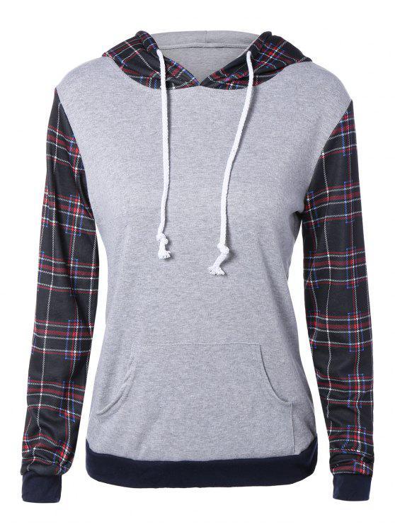 plaid pocket embellished string hoodie