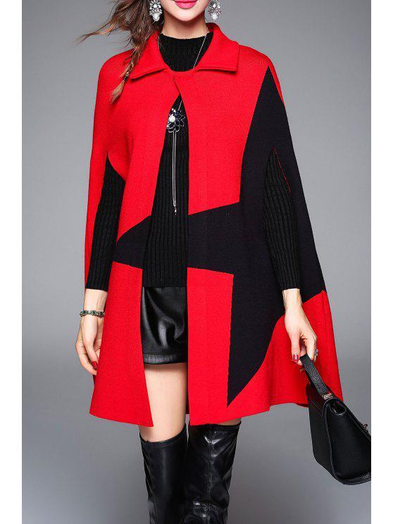 Coat Color Block Étoffes Cap - Rouge Taille Unique