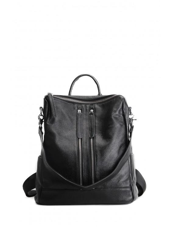 unique Textured Leather Multi Zips Backpack - BLACK