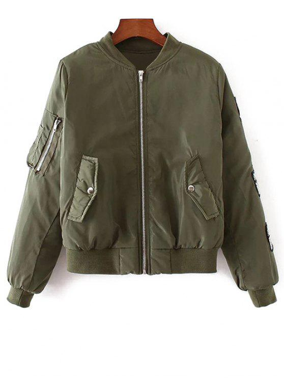 sale Rhinestoned Patched Jacket - ARMY GREEN M