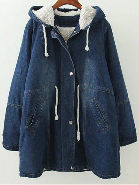 online Hooded Denim Coat - BLUE M