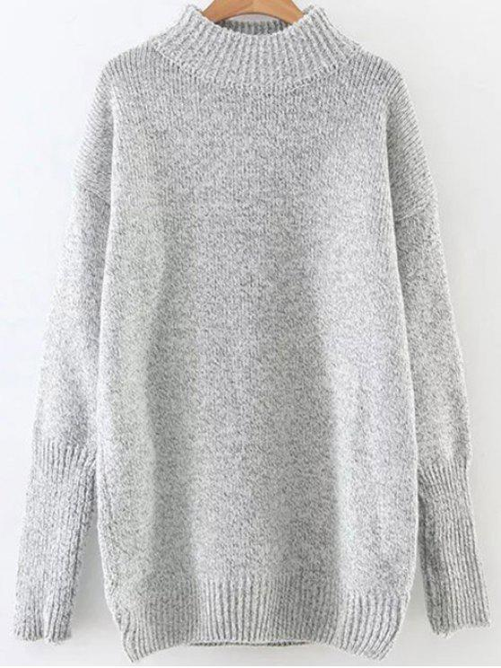 outfit Long High Neck Sweater - LIGHT GRAY ONE SIZE