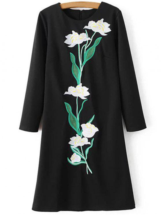 Bordado floral Vestido direito - Preto S