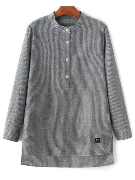 unique Slit Stripe High-Low Shirt - GRAY M