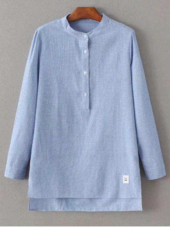 affordable Slit Stripe High-Low Shirt - BLUE L
